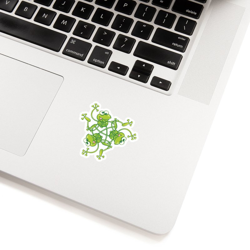 Green frogs waving and having fun while performing a cool choreography Accessories Sticker by Zoo&co's Artist Shop