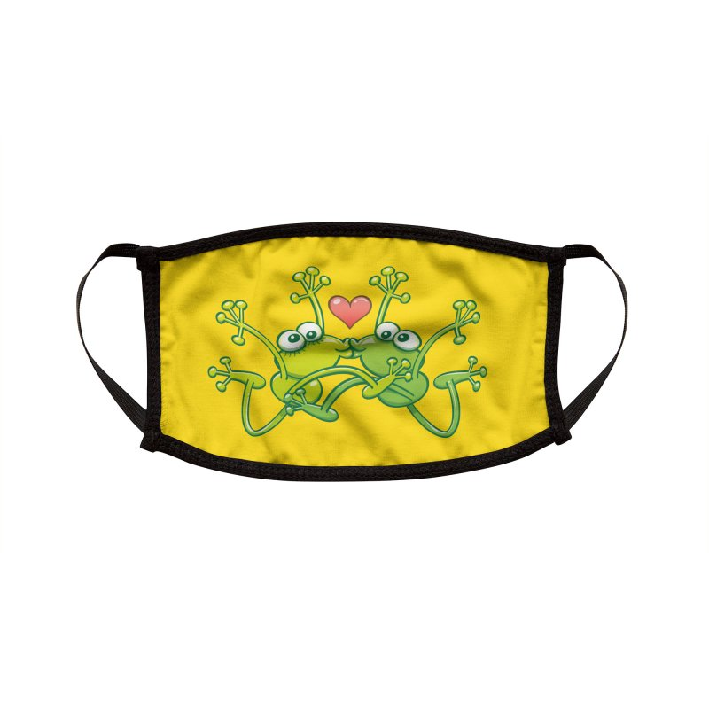 Funny green frogs falling in love while performing an acrobatic kiss Accessories Face Mask by Zoo&co's Artist Shop