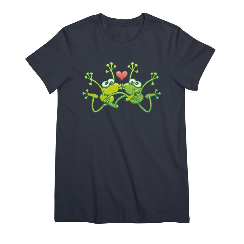 Funny green frogs falling in love while performing an acrobatic kiss Women's T-Shirt by Zoo&co's Artist Shop