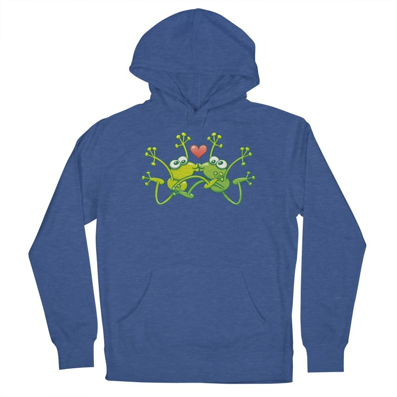 Funny green frogs falling in love while performing an acrobatic kiss Women's Pullover Hoody by Zoo&co's Artist Shop