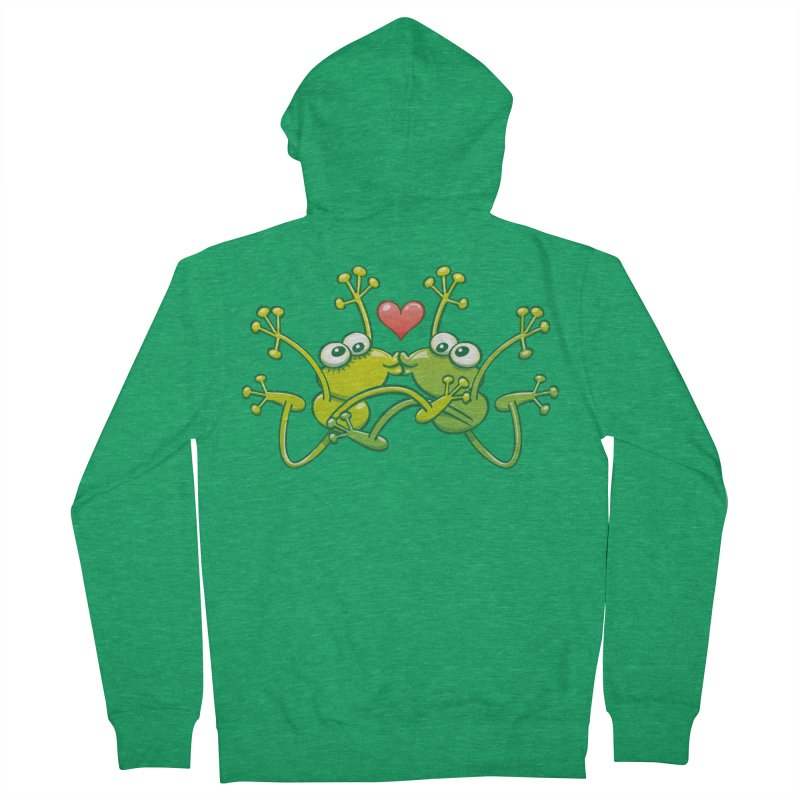 Funny green frogs falling in love while performing an acrobatic kiss Men's Zip-Up Hoody by Zoo&co's Artist Shop