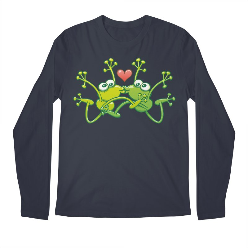 Funny green frogs falling in love while performing an acrobatic kiss Men's Longsleeve T-Shirt by Zoo&co's Artist Shop
