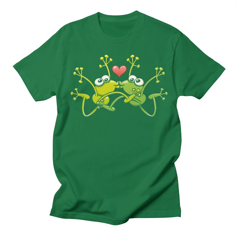 Funny green frogs falling in love while performing an acrobatic kiss Men's T-Shirt by Zoo&co's Artist Shop
