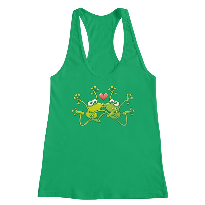 Funny green frogs falling in love while performing an acrobatic kiss Women's Tank by Zoo&co's Artist Shop