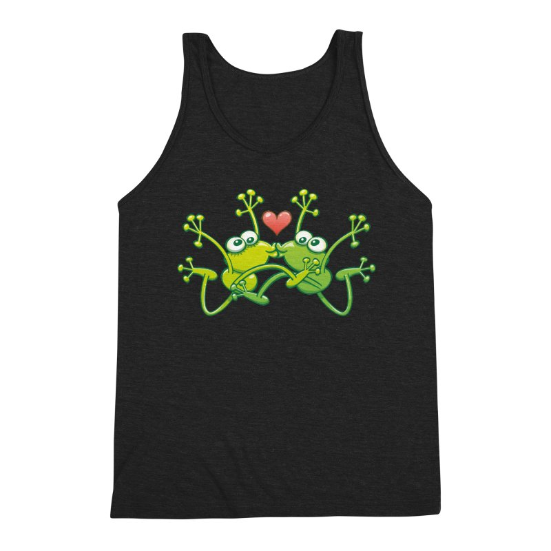 Funny green frogs falling in love while performing an acrobatic kiss Men's Tank by Zoo&co's Artist Shop