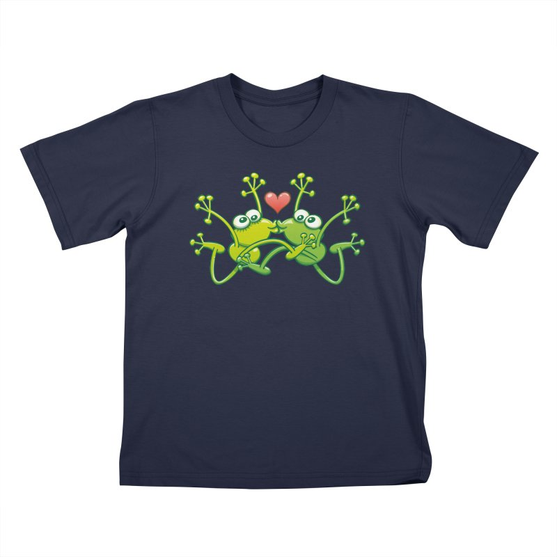 Funny green frogs falling in love while performing an acrobatic kiss Kids T-Shirt by Zoo&co's Artist Shop