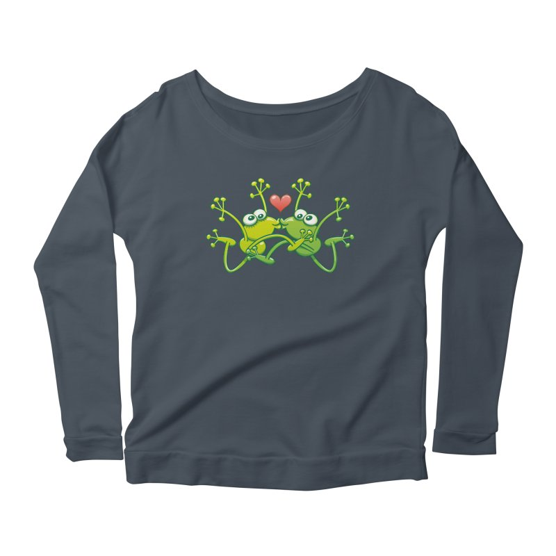 Funny green frogs falling in love while performing an acrobatic kiss Women's Longsleeve T-Shirt by Zoo&co's Artist Shop