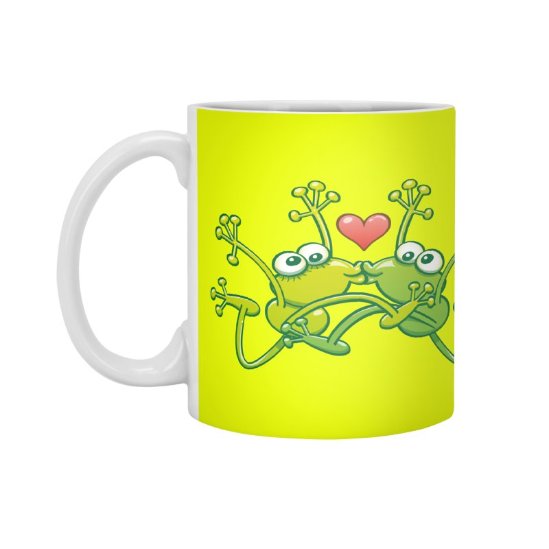 Funny green frogs falling in love while performing an acrobatic kiss Accessories Mug by Zoo&co's Artist Shop