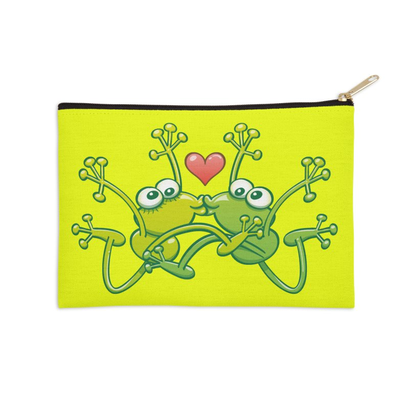 Funny green frogs falling in love while performing an acrobatic kiss Accessories Zip Pouch by Zoo&co's Artist Shop