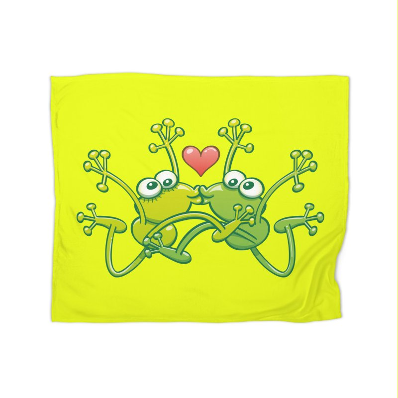 Funny green frogs falling in love while performing an acrobatic kiss Home Blanket by Zoo&co's Artist Shop