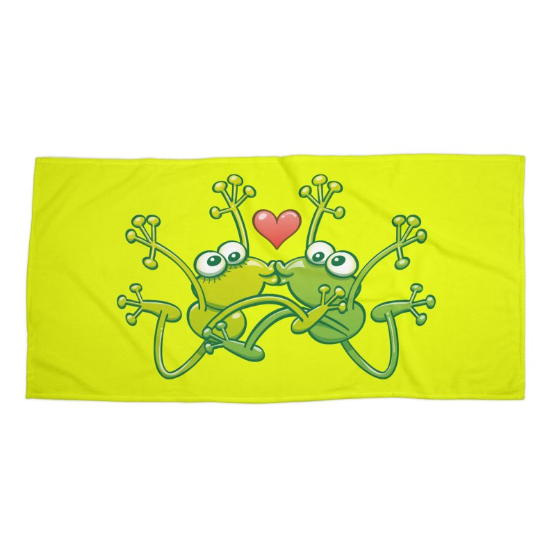 Funny green frogs falling in love while performing an acrobatic kiss Accessories Beach Towel by Zoo&co's Artist Shop