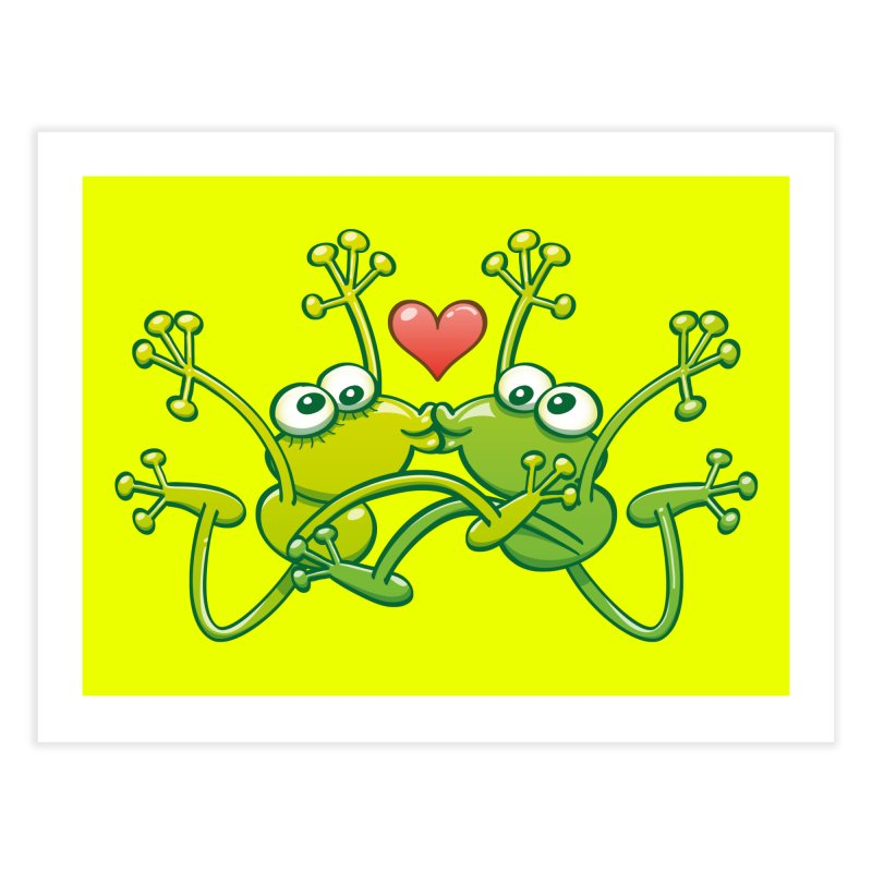 Funny green frogs falling in love while performing an acrobatic kiss Home Fine Art Print by Zoo&co's Artist Shop