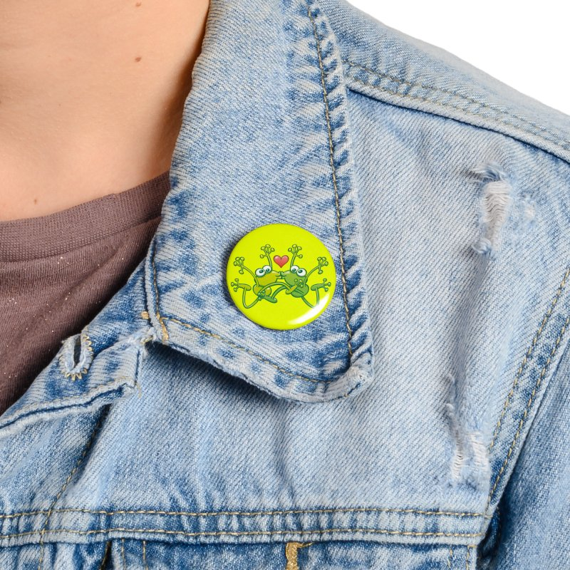 Funny green frogs falling in love while performing an acrobatic kiss Accessories Button by Zoo&co's Artist Shop