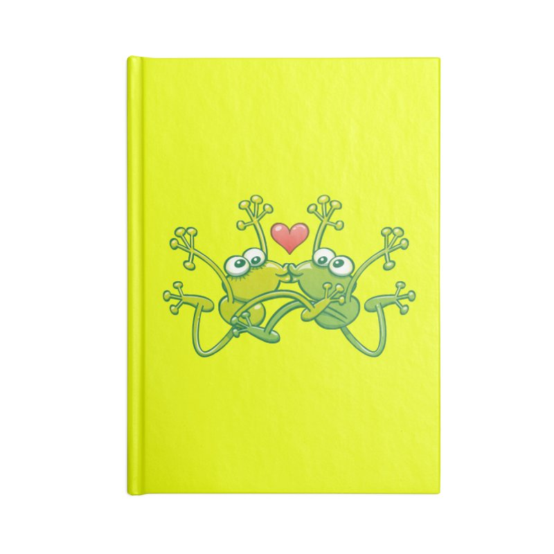 Funny green frogs falling in love while performing an acrobatic kiss Accessories Notebook by Zoo&co's Artist Shop