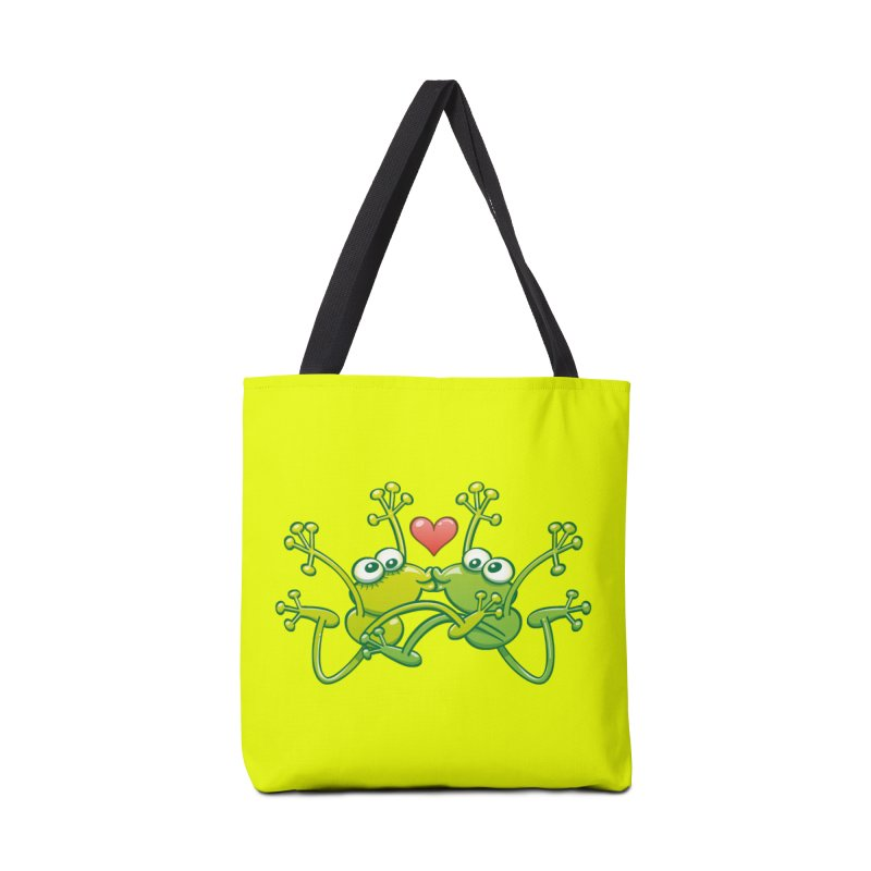 Funny green frogs falling in love while performing an acrobatic kiss Accessories Bag by Zoo&co's Artist Shop