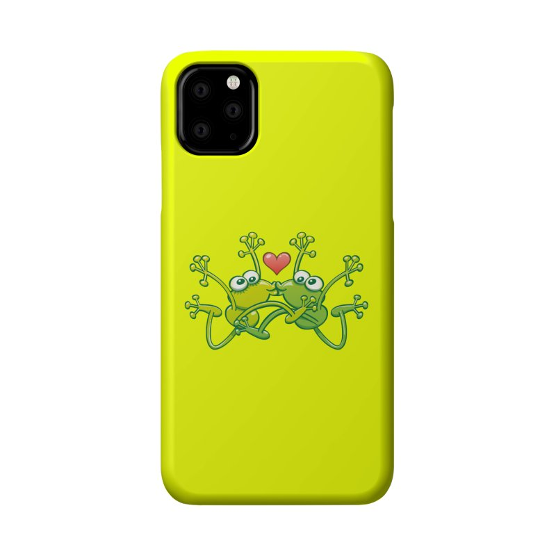 Funny green frogs falling in love while performing an acrobatic kiss Accessories Phone Case by Zoo&co's Artist Shop