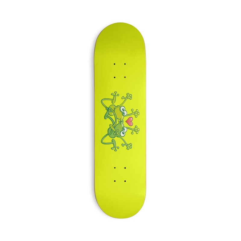 Funny green frogs falling in love while performing an acrobatic kiss Accessories Skateboard by Zoo&co's Artist Shop