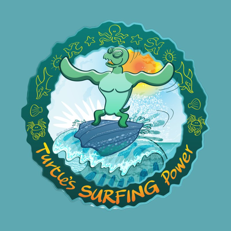 Leatherback sea turtle riding a wave surfing on its own shell Women's Tank by Zoo&co's Artist Shop