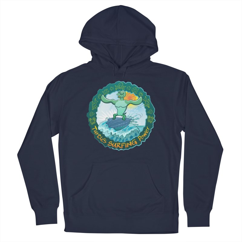 Leatherback sea turtle riding a wave surfing on its own shell Women's Pullover Hoody by Zoo&co's Artist Shop