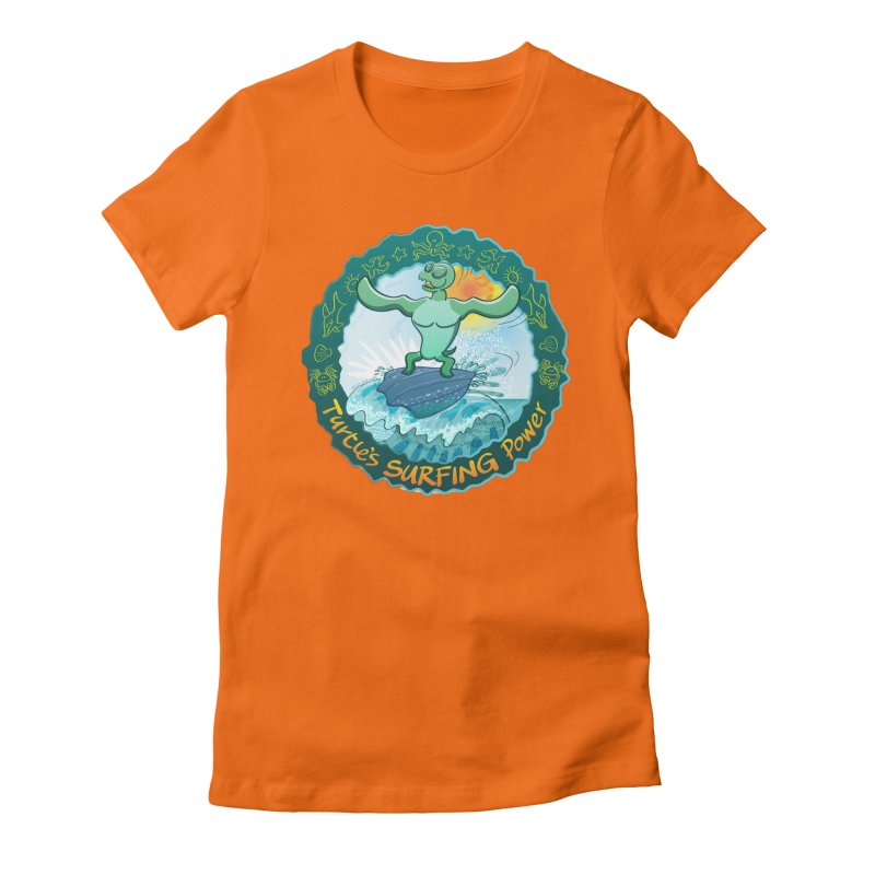 Leatherback sea turtle riding a wave surfing on its own shell Women's T-Shirt by Zoo&co's Artist Shop