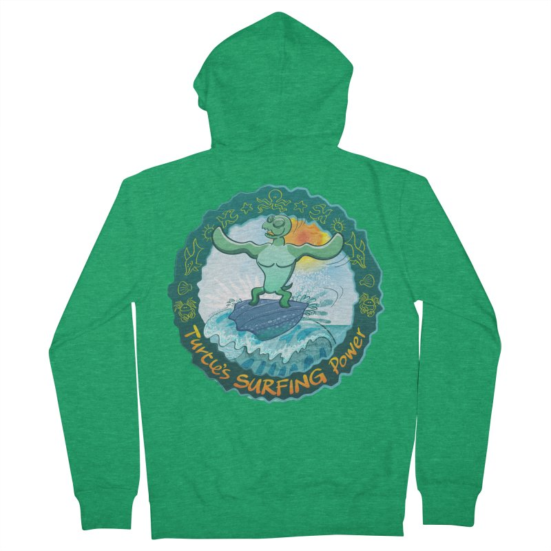 Leatherback sea turtle riding a wave surfing on its own shell Women's Zip-Up Hoody by Zoo&co's Artist Shop