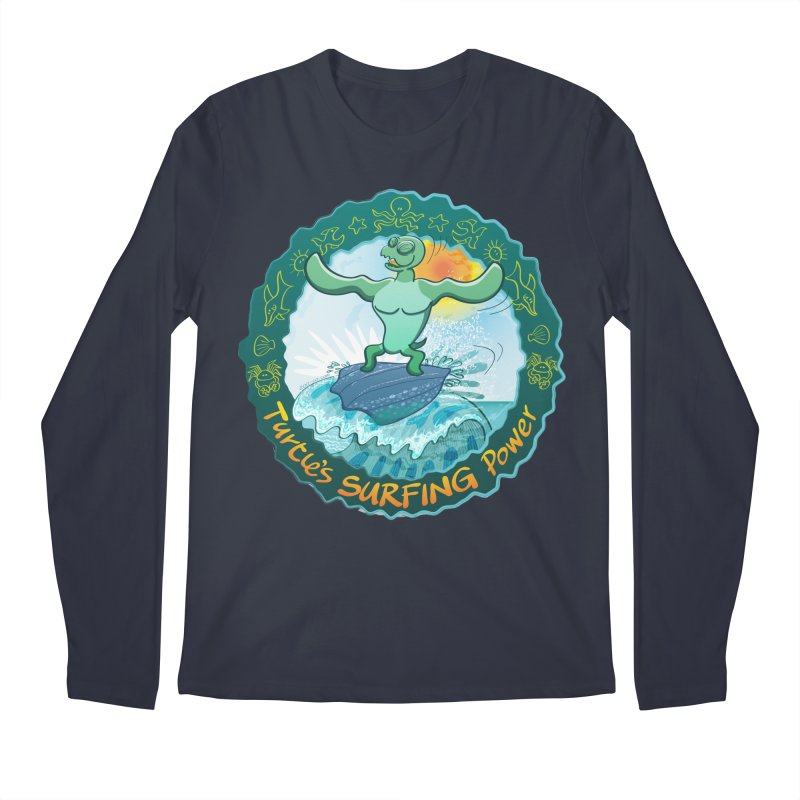 Leatherback sea turtle riding a wave surfing on its own shell Men's Longsleeve T-Shirt by Zoo&co's Artist Shop