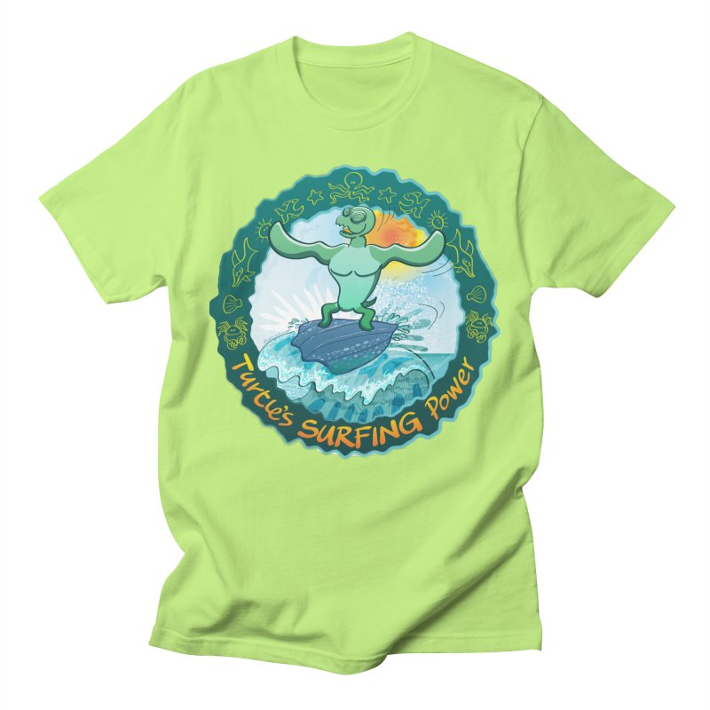 Leatherback sea turtle riding a wave surfing on its own shell Men's T-Shirt by Zoo&co's Artist Shop