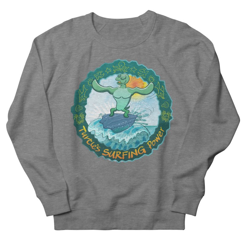 Leatherback sea turtle riding a wave surfing on its own shell Women's Sweatshirt by Zoo&co's Artist Shop