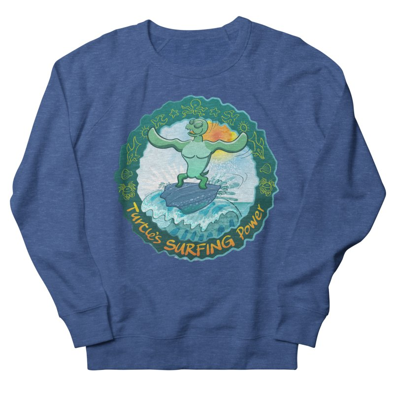 Leatherback sea turtle riding a wave surfing on its own shell Men's Sweatshirt by Zoo&co's Artist Shop