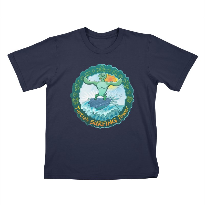 Leatherback sea turtle riding a wave surfing on its own shell Kids T-Shirt by Zoo&co's Artist Shop