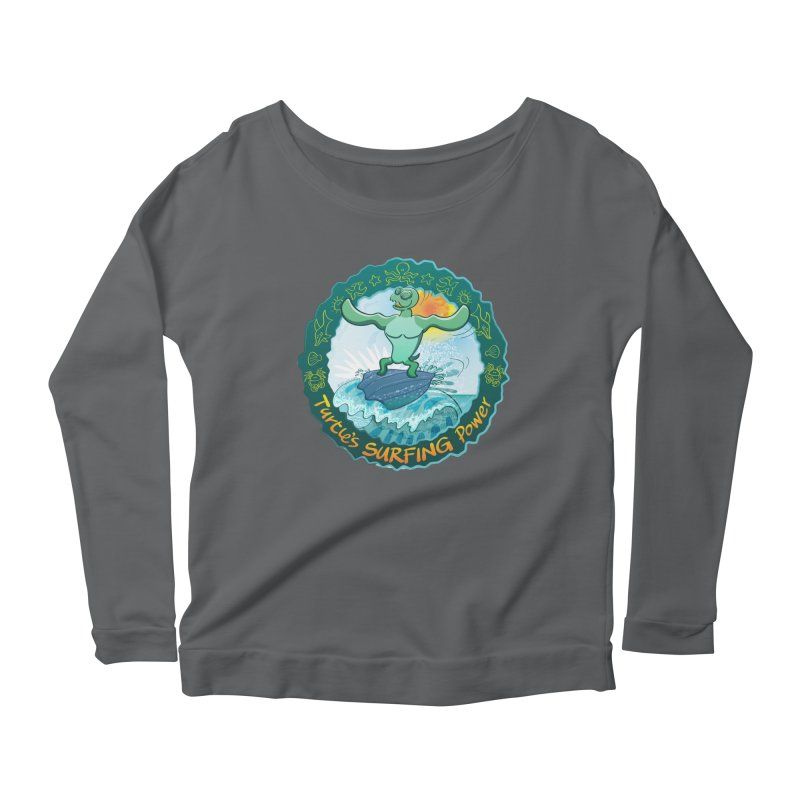 Leatherback sea turtle riding a wave surfing on its own shell Women's Longsleeve T-Shirt by Zoo&co's Artist Shop
