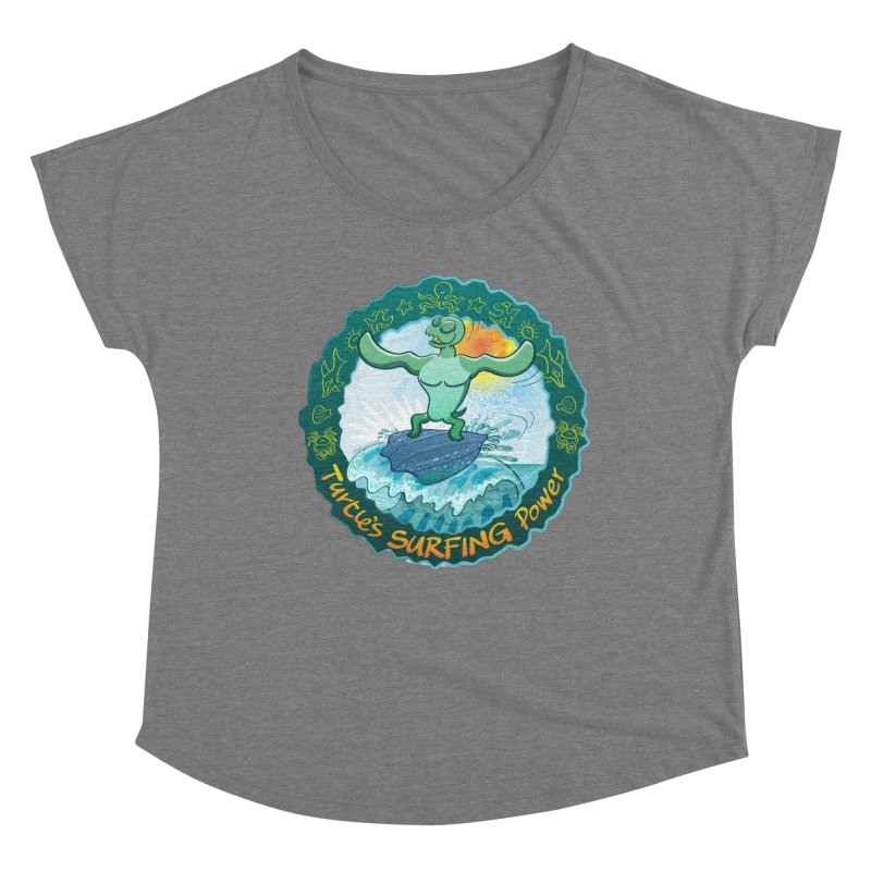Leatherback sea turtle riding a wave surfing on its own shell Women's Scoop Neck by Zoo&co's Artist Shop