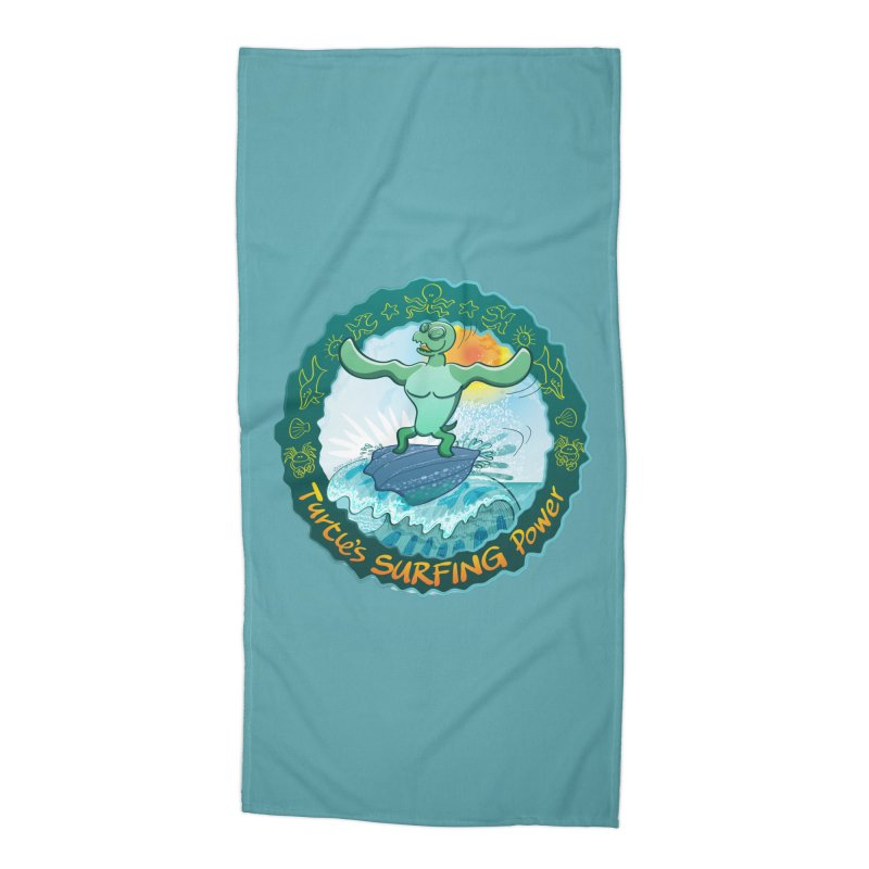Leatherback sea turtle riding a wave surfing on its own shell Accessories Beach Towel by Zoo&co's Artist Shop
