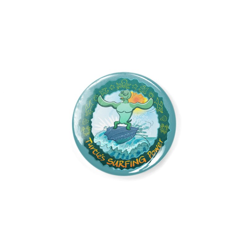 Leatherback sea turtle riding a wave surfing on its own shell Accessories Button by Zoo&co's Artist Shop