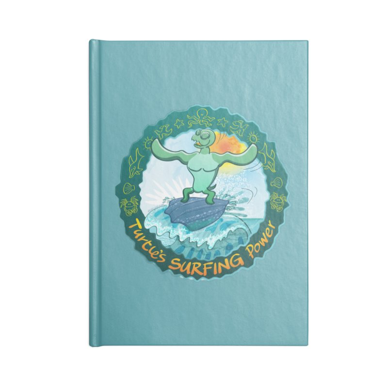 Leatherback sea turtle riding a wave surfing on its own shell Accessories Notebook by Zoo&co's Artist Shop