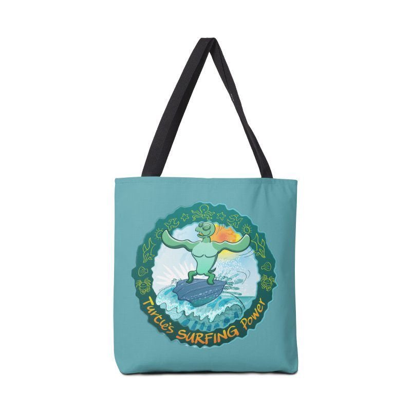 Leatherback sea turtle riding a wave surfing on its own shell Accessories Bag by Zoo&co's Artist Shop