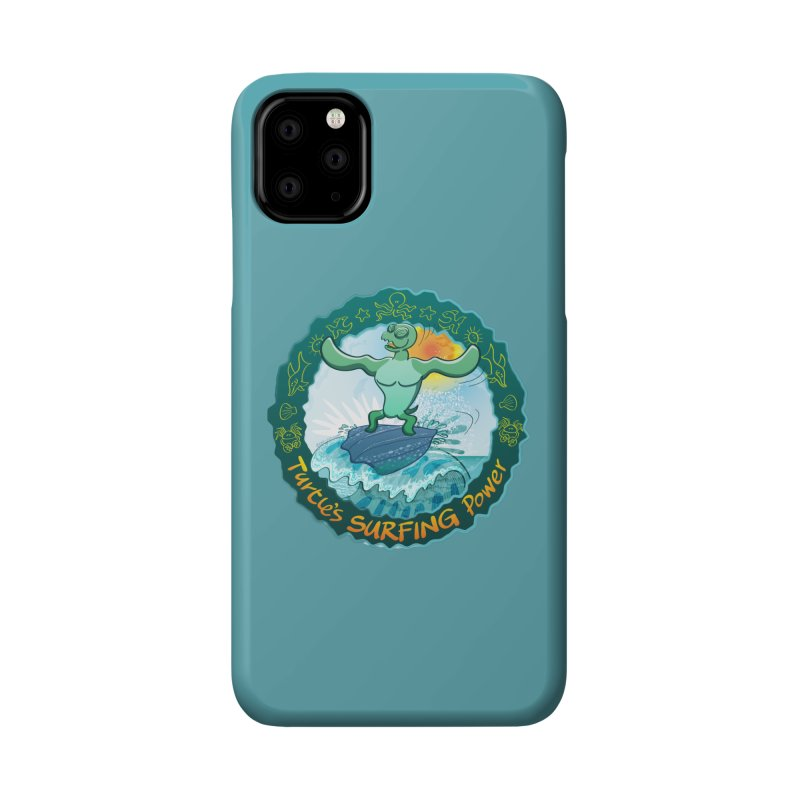 Leatherback sea turtle riding a wave surfing on its own shell Accessories Phone Case by Zoo&co's Artist Shop