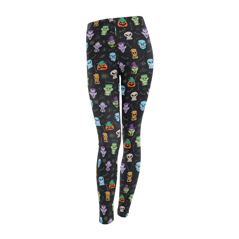 Halloween characters making funny faces in a cool pattern design Women's Bottoms by Zoo&co's Artist Shop