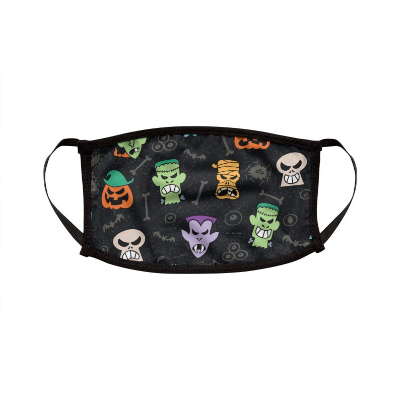 Halloween characters making funny faces in a cool pattern design Accessories Face Mask by Zoo&co's Artist Shop