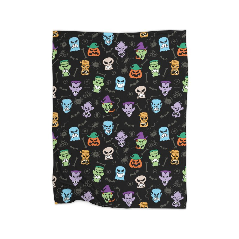 Halloween characters making funny faces in a cool pattern design Home Blanket by Zoo&co's Artist Shop