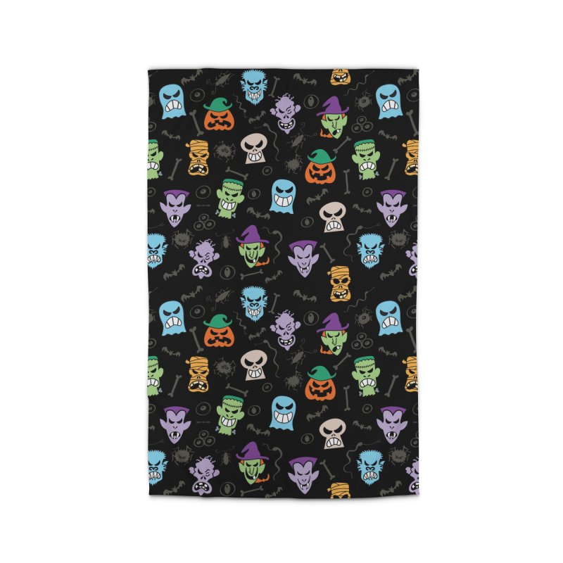 Halloween characters making funny faces in a cool pattern design Home Rug by Zoo&co's Artist Shop