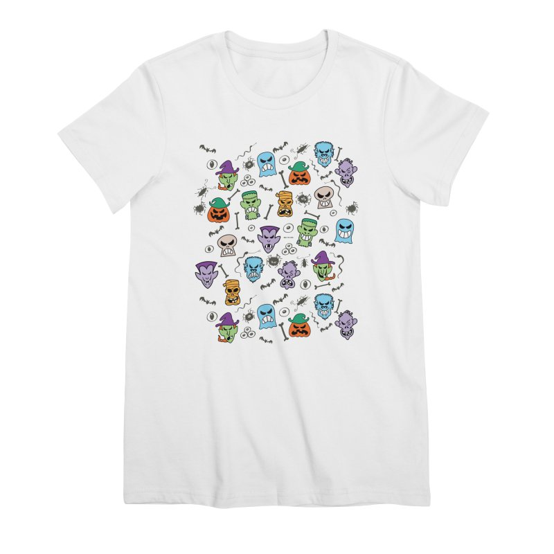 Halloween characters making funny faces in a cool pattern design Women's T-Shirt by Zoo&co's Artist Shop