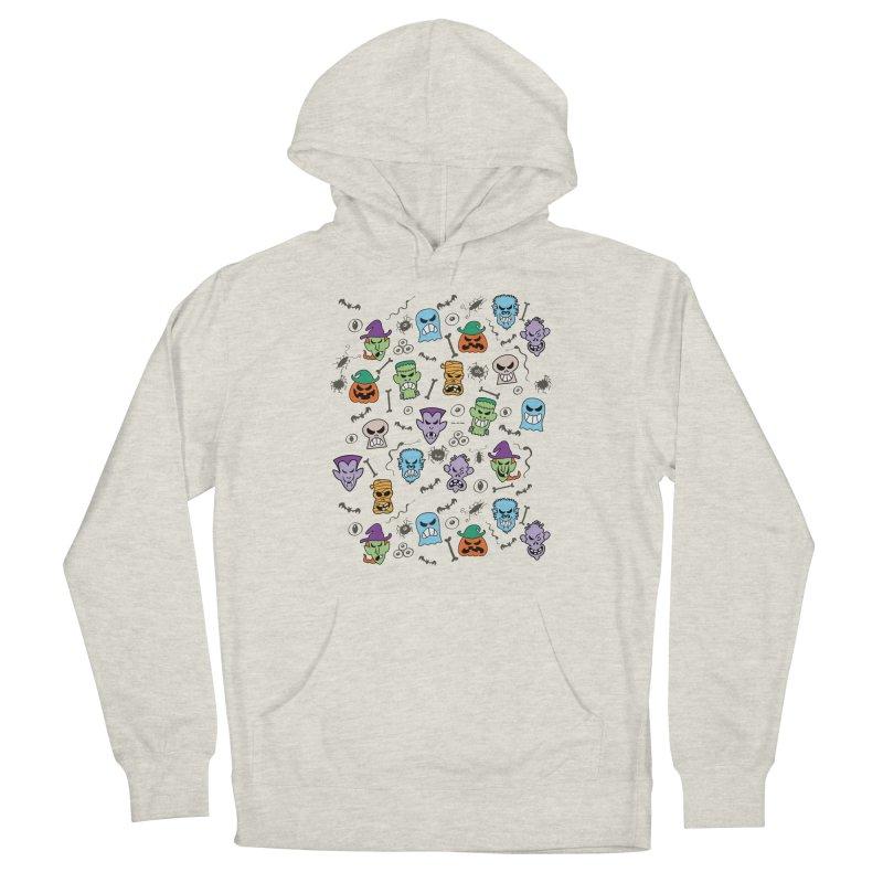Halloween characters making funny faces in a cool pattern design Women's Pullover Hoody by Zoo&co's Artist Shop