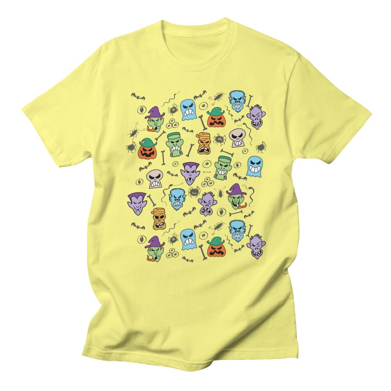 Halloween characters making funny faces in a cool pattern design Men's T-Shirt by Zoo&co's Artist Shop