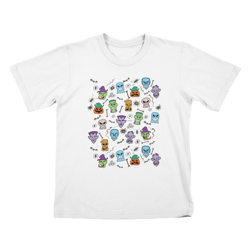Halloween characters making funny faces in a cool pattern design Kids T-Shirt by Zoo&co's Artist Shop