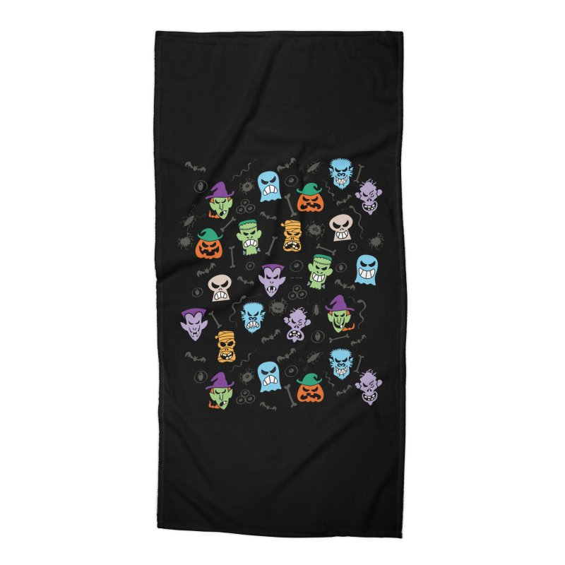 Halloween characters making funny faces in a cool pattern design Accessories Beach Towel by Zoo&co's Artist Shop