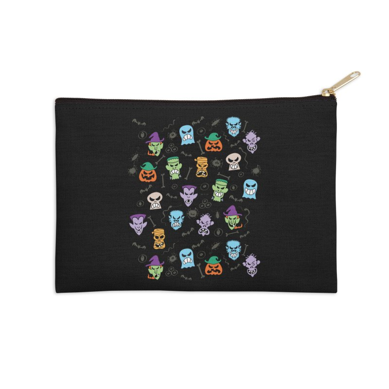 Halloween characters making funny faces in a cool pattern design Accessories Zip Pouch by Zoo&co's Artist Shop