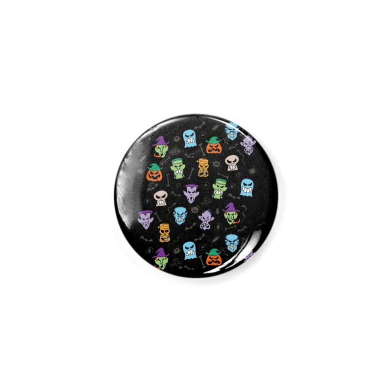 Halloween characters making funny faces in a cool pattern design Accessories Button by Zoo&co's Artist Shop