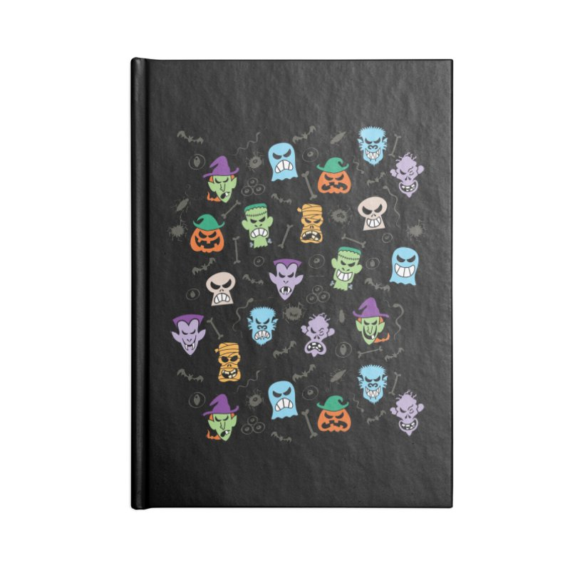 Halloween characters making funny faces in a cool pattern design Accessories Notebook by Zoo&co's Artist Shop