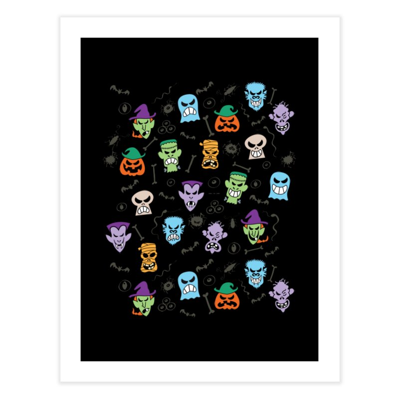 Halloween characters making funny faces in a cool pattern design Home Fine Art Print by Zoo&co's Artist Shop